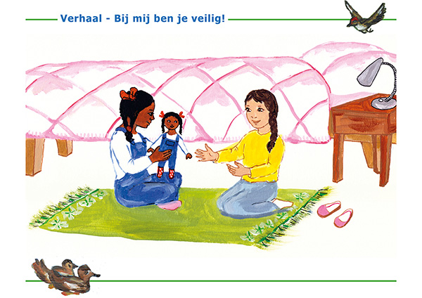 Prent verhaal 'Bij mij ben je veilig' - Kinderrechten